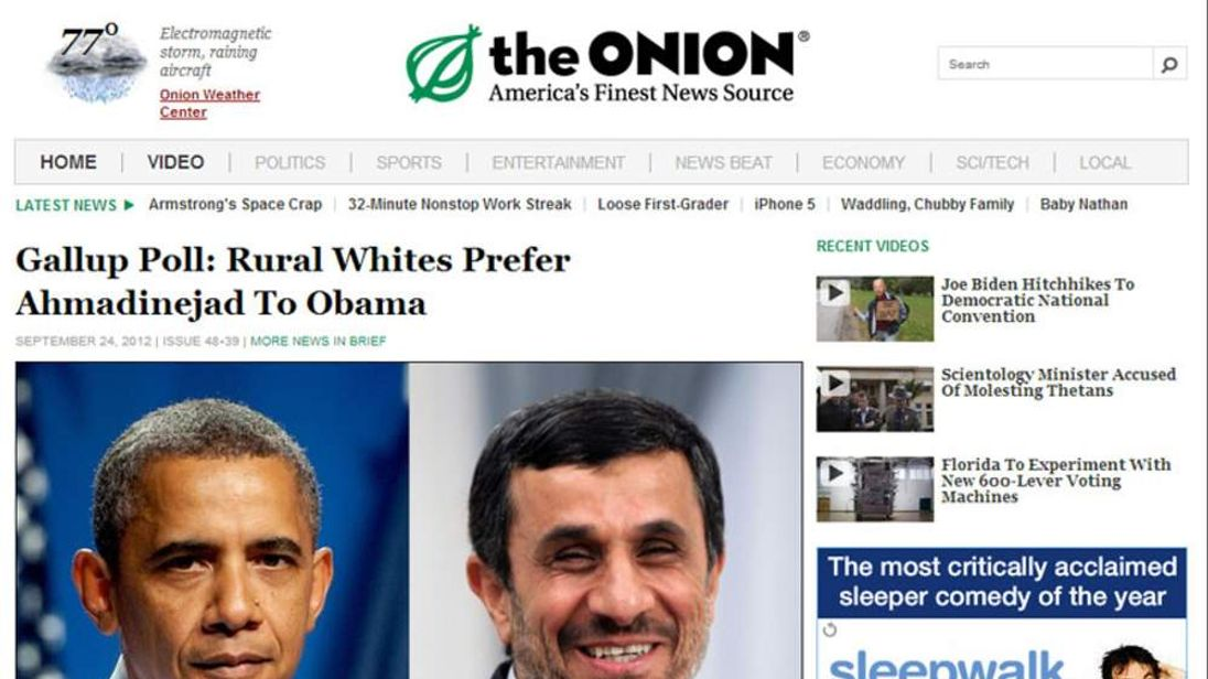 The Onion's spoof story about Mr Obama and Mr Ahmadinejad.