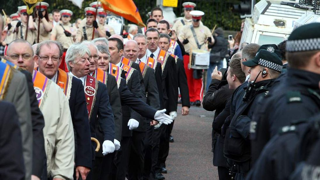 Orange Order march in Belfast.