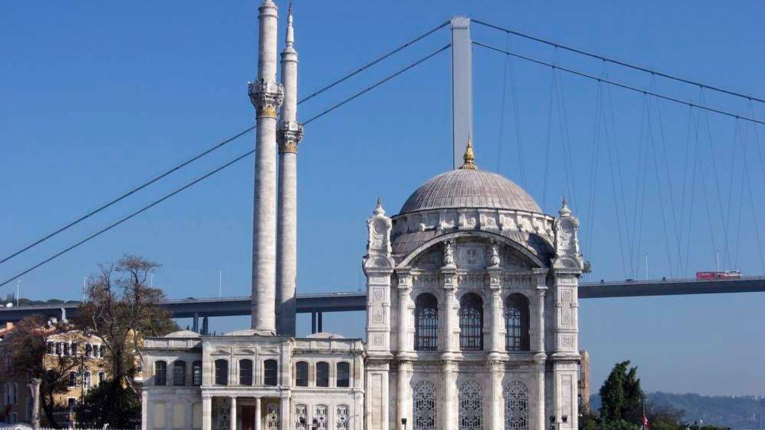 The Ortakoy mosque and the Bosphorus bridge