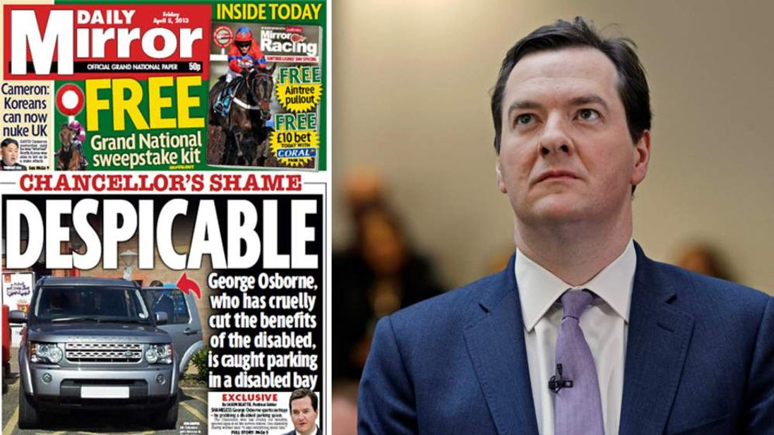 George Osborne And Front Page Of Daily Mirror