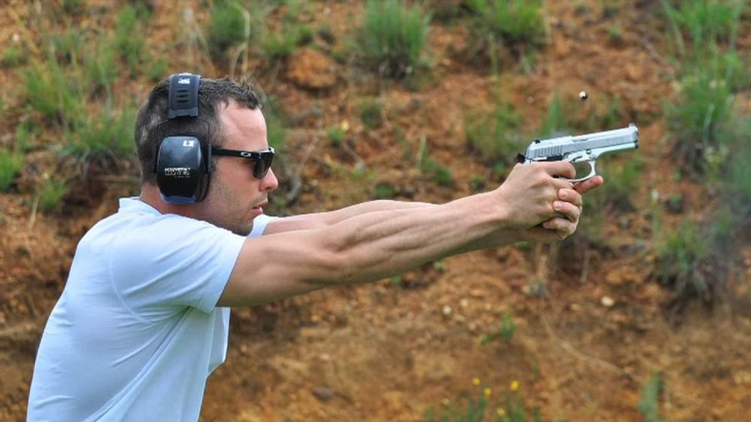 Oscar Pistorius fires the handgun later used in shooting of his girlfriend