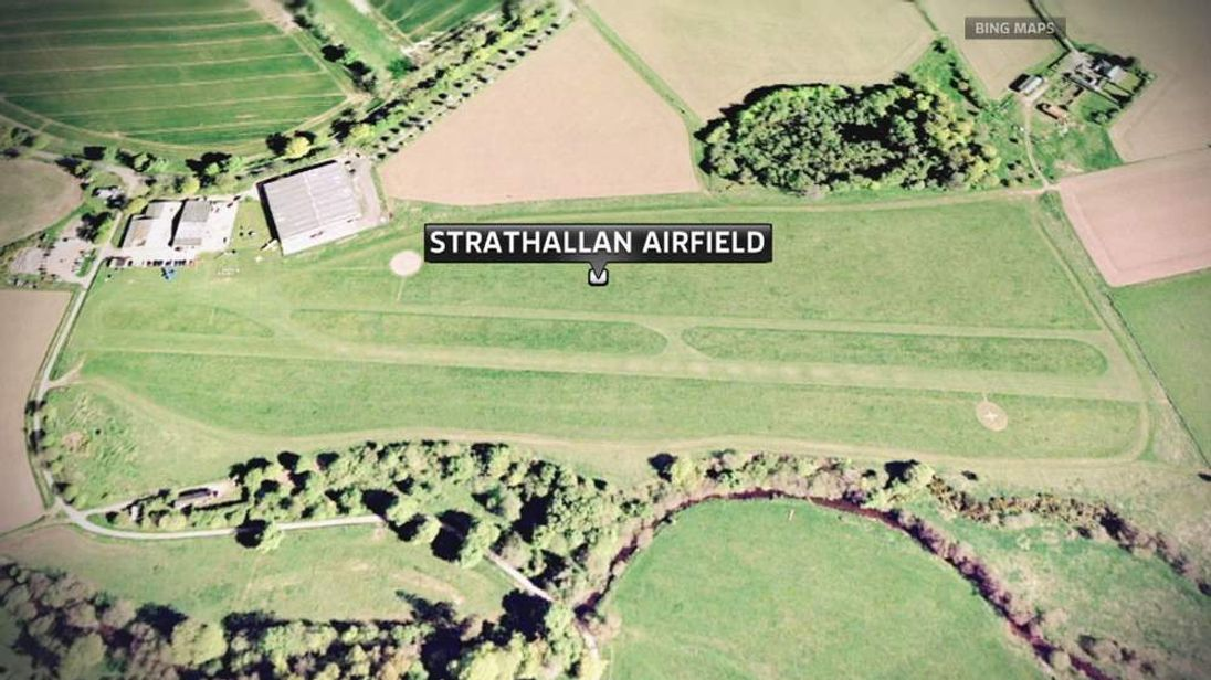 Map of Strathallan Airfield near the town of Auchterarder in Perthshire