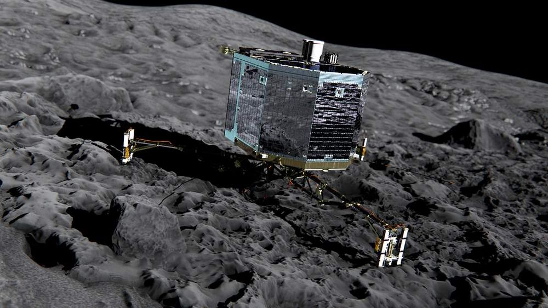 An artist's impression of the Rosetta spacecraft's Philae lander on the surface of a comet