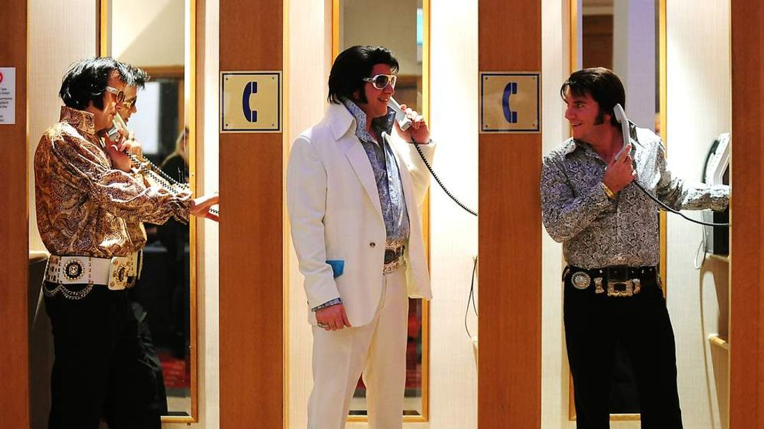Elvis tribute artists Patrick Byrne from Essex, Nicky Vegas from Hinckley and Andy Wood from Leeds