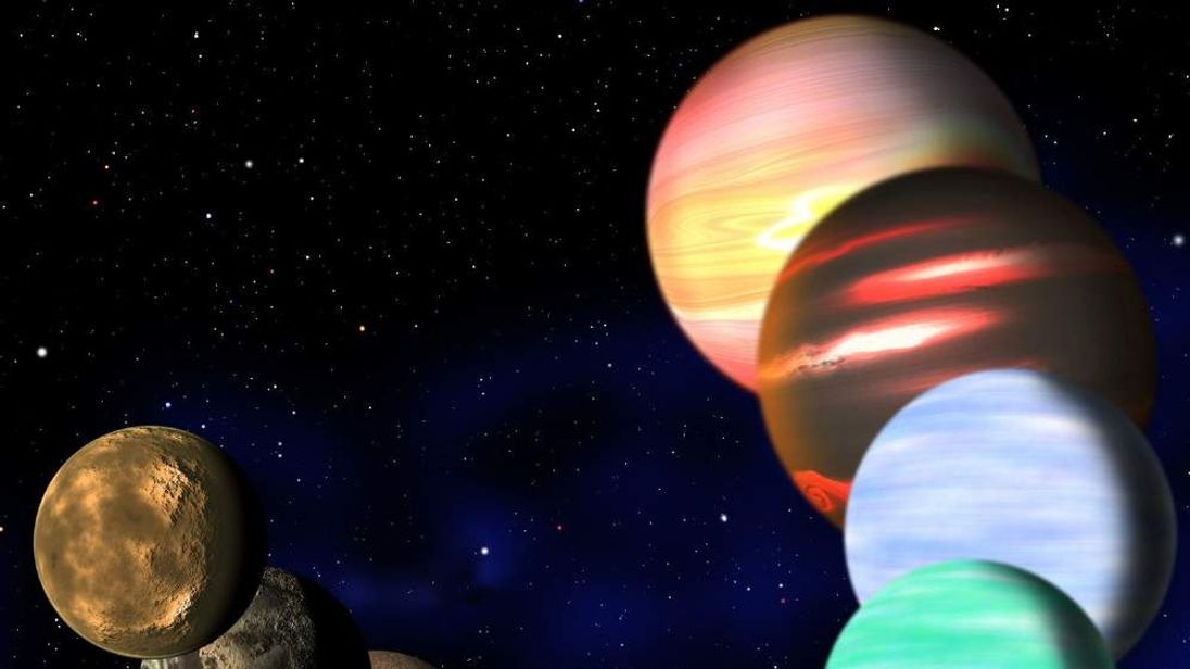 This artist's illustration represents the variety of planets being detected by NASA's Kepler spacecraft