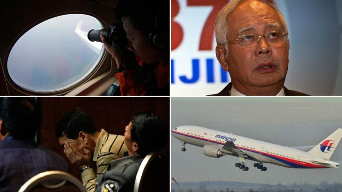 Composite image showing the Malaysia Airlines plane, Prime Minister Najib Razak, a member of the search party and a relative of one of the passengers.