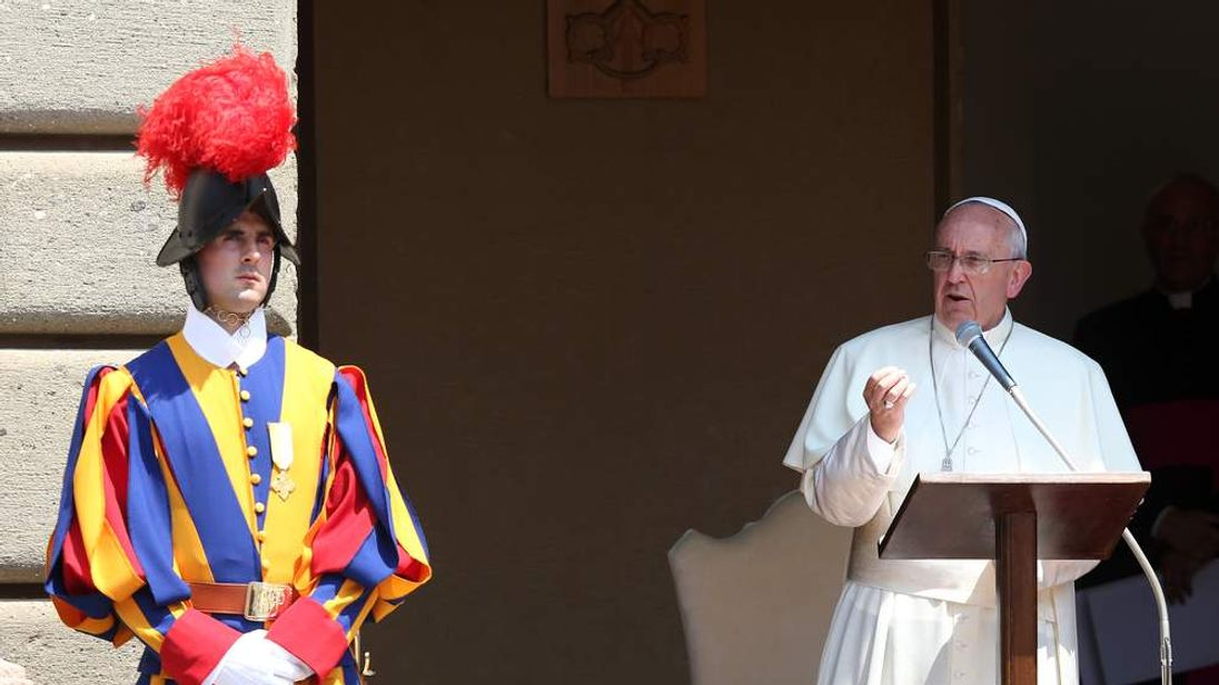 Pope Francis leads the Sunday Angelus prayer from the summer residence in Castel Gandolfo