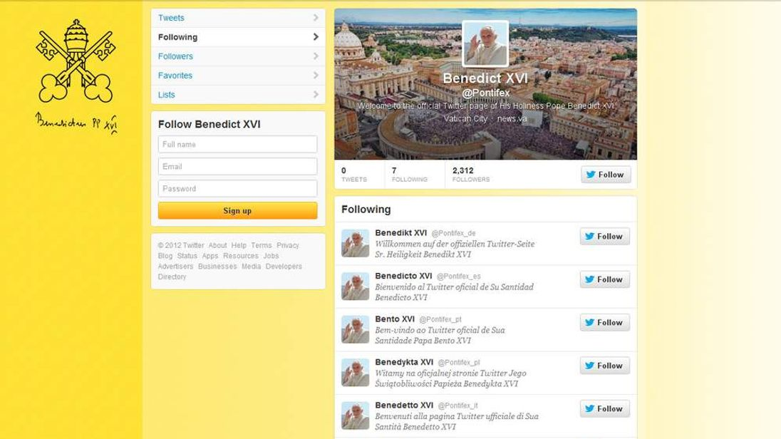 The Pope's Twitter account