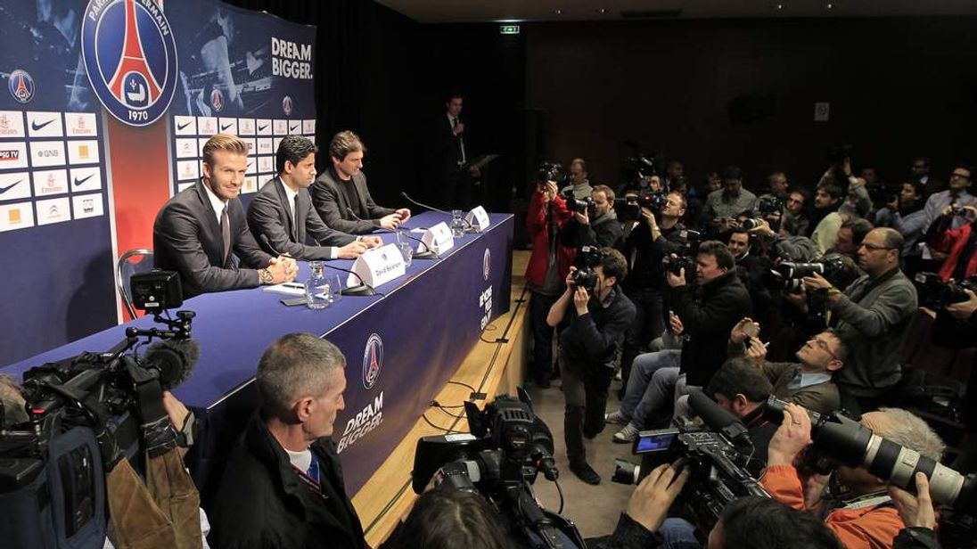 Soccer player David Beckham attends a news conference in Paris