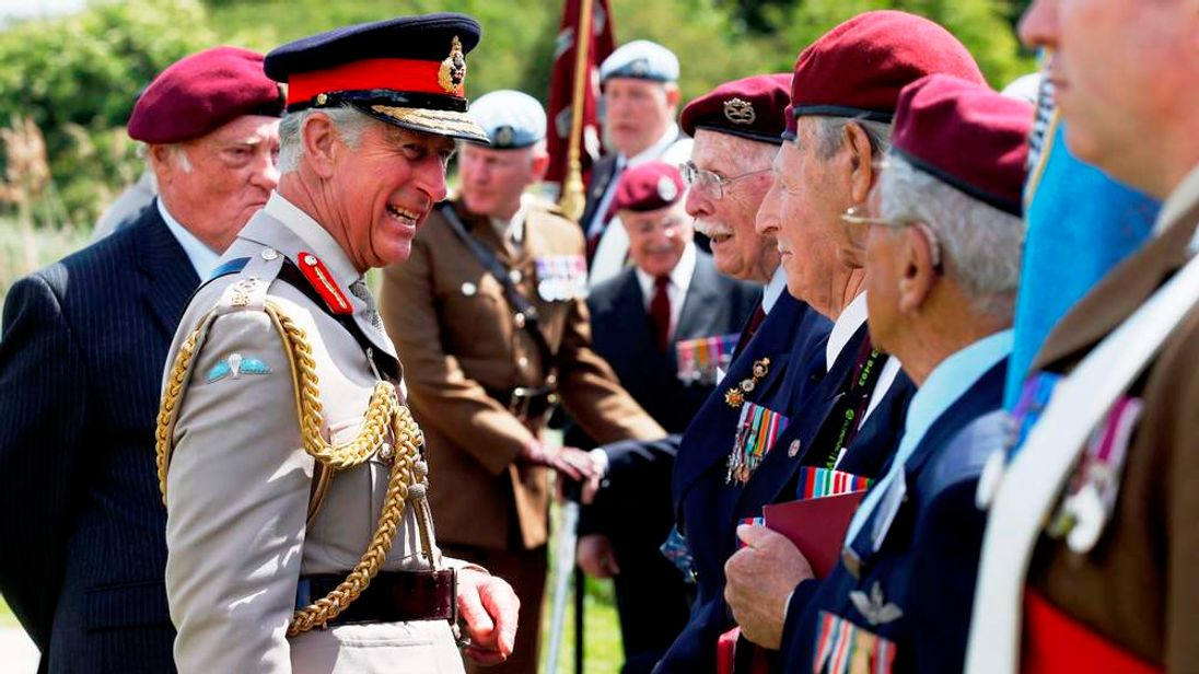 The Prince of Wales meets Normandy veterans of the Glider Pilot Regiment at Pegasus Bridge, Normandy