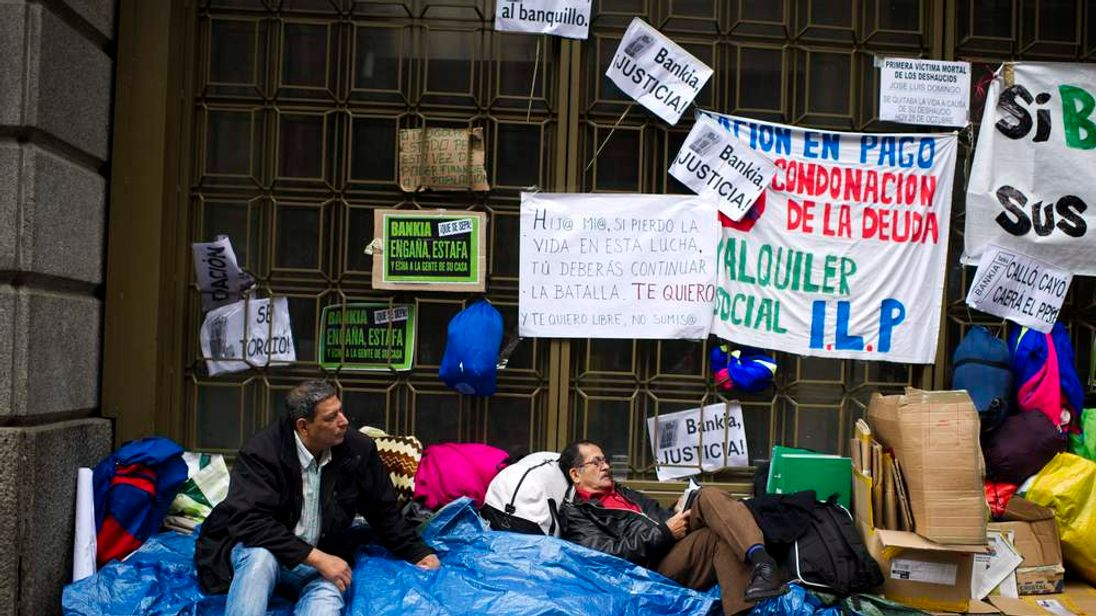 A protest outside Caja Madrid in Madrid, Spain.