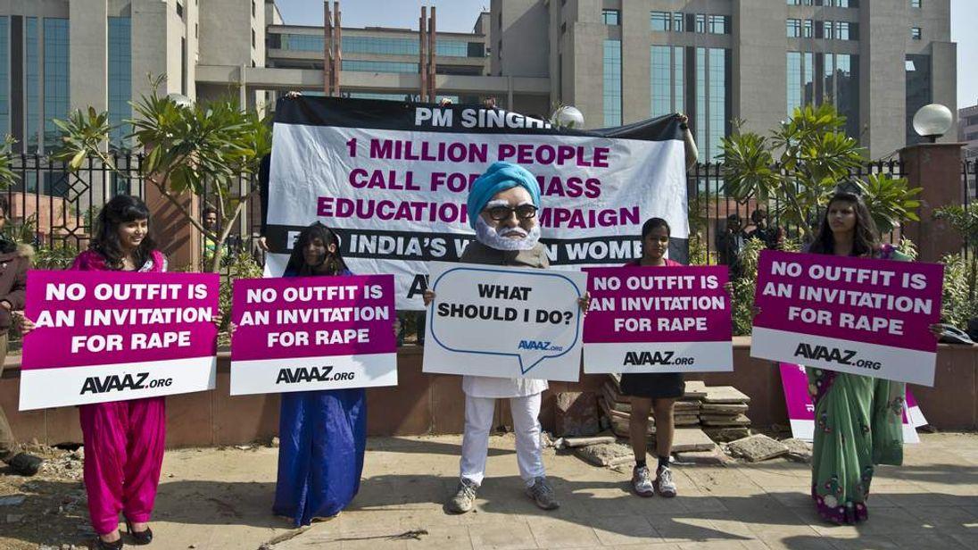 Protestors outside the district court saket in Delhi.