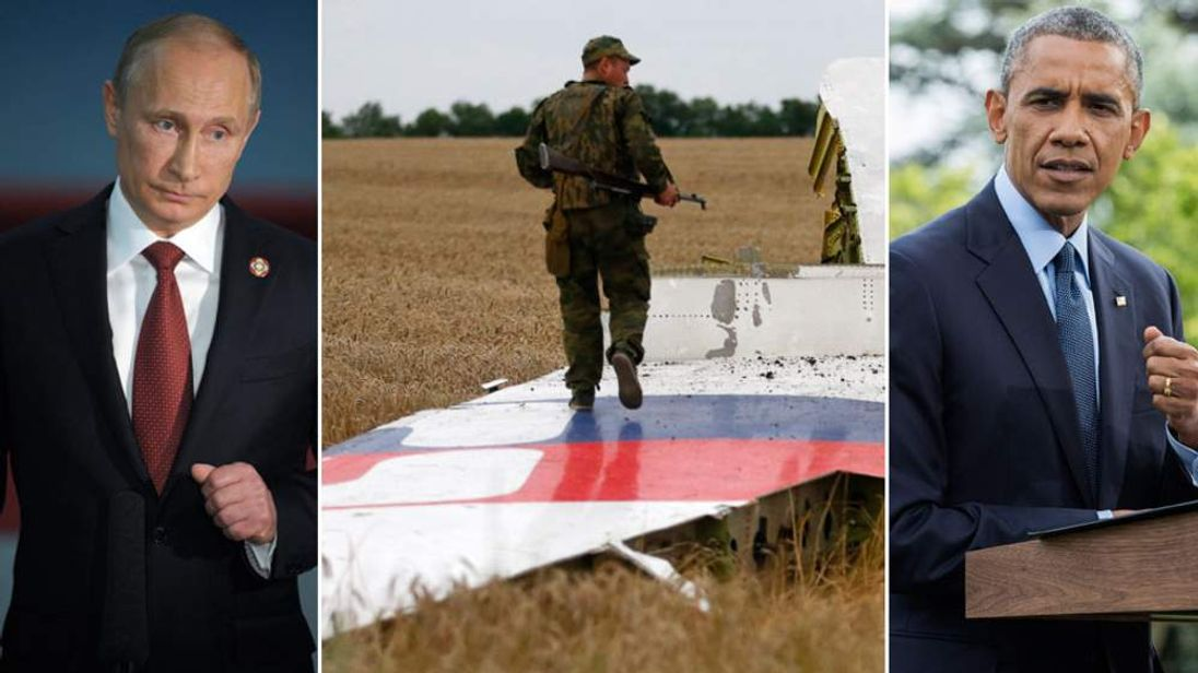 Vladimir Putin, a pro-Russian separatist at the MH17 crash site and Barack Obama
