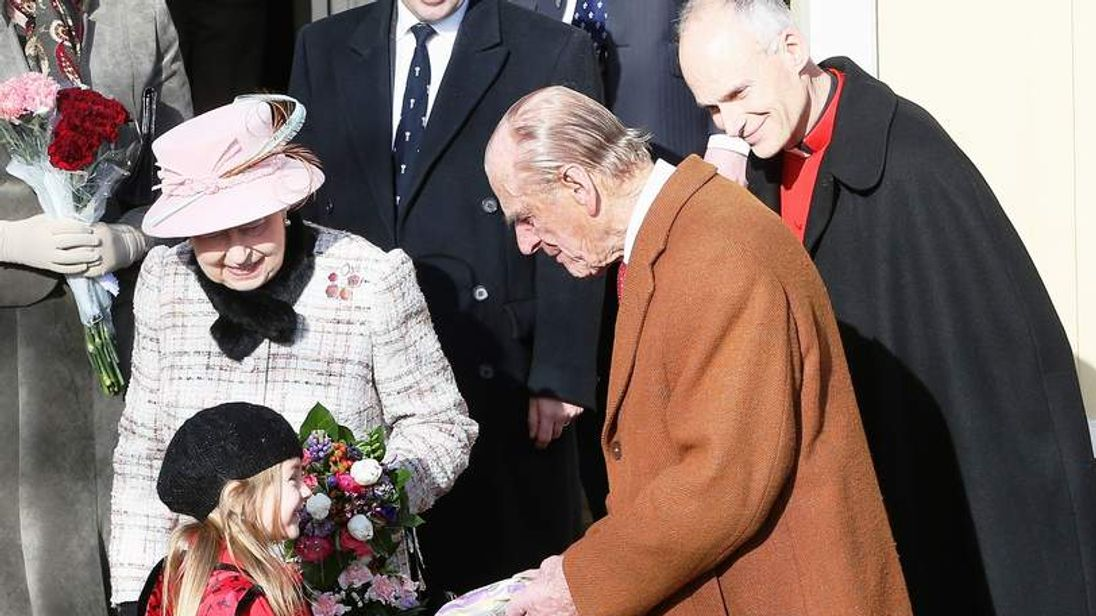 The Queen with Prince Philip after church in Norfolk on February 2