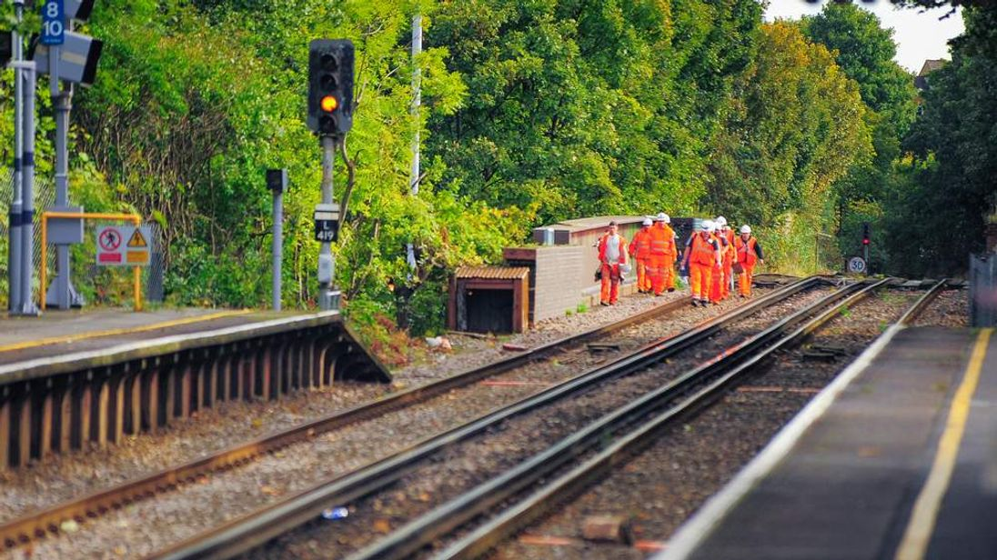Railway construction workers at Westcombe park station, London