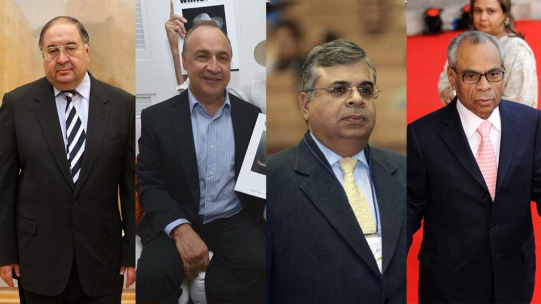 (L-R) Alisher Usmanov, Len Blavatnik, Gopi Hinduja and Sri Hinduja