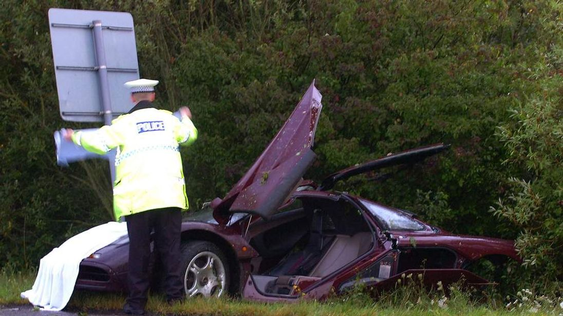 Rowan Atkinson Crashes McLaren F1 Supercar