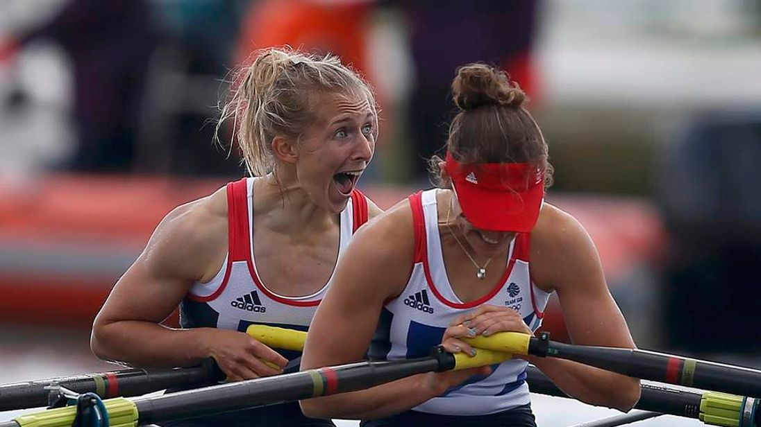 Katherine Copeland (L) and Sophie Hosking (R) celebrate winning the women's lightweight double sculls fina