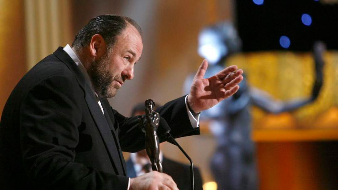 James Gandolfini accepts the award for best actor in a drama series for The Sopranos at the Screen Actors Guild Awards in 2008