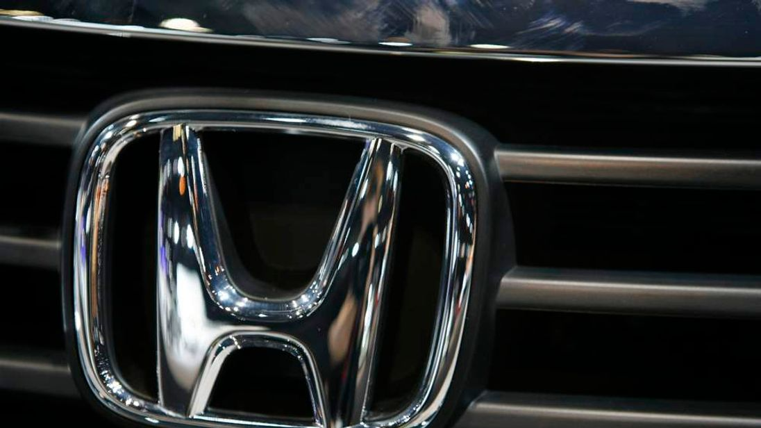 The grill emblem is seen on a Honda Accord during Chicago Auto Show