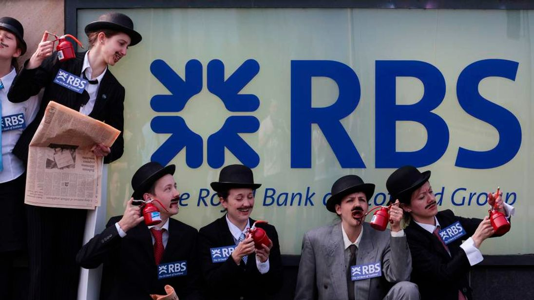 Protesters outside the RBS AGM at its Edinburgh HQ