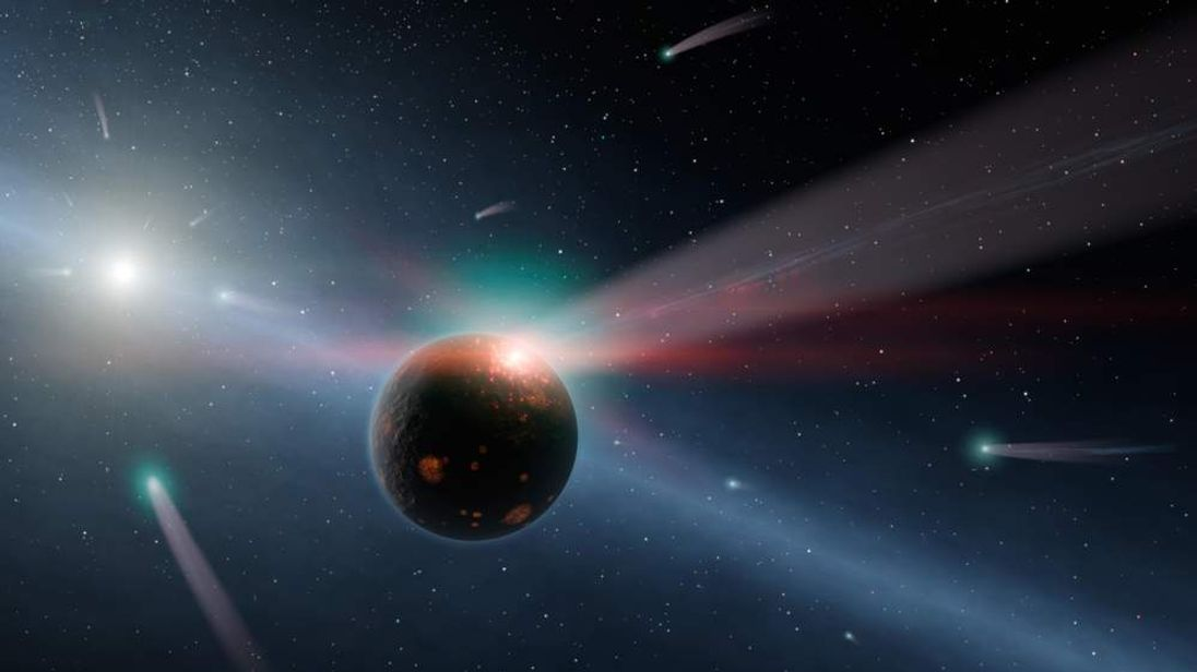 NASA handout image of a storm of comets near a star called Eta Corvi