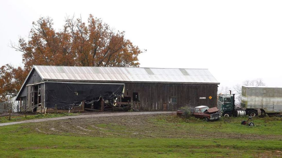 A view of the barn from the entrance to Terry Thompson's property, where exotic animals were kept, in Zanesville