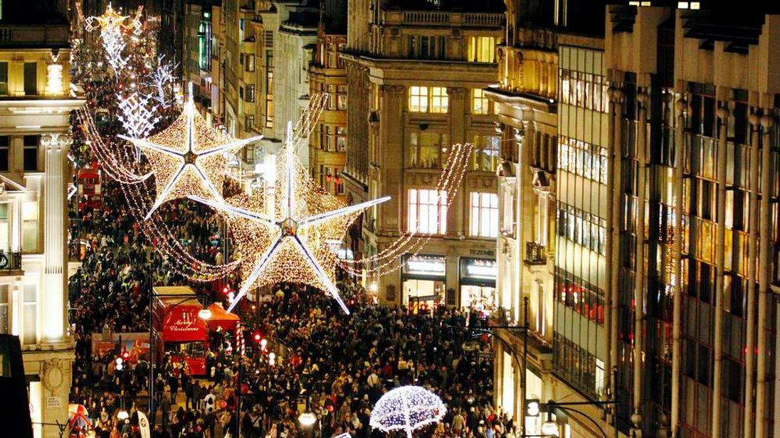 Crowds fill Oxford Street in December 2011