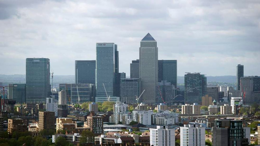The Canary Wharf financial district is seen from the top of the ArcelorMittal Orbit in the London 2012 Olympic Park in east London