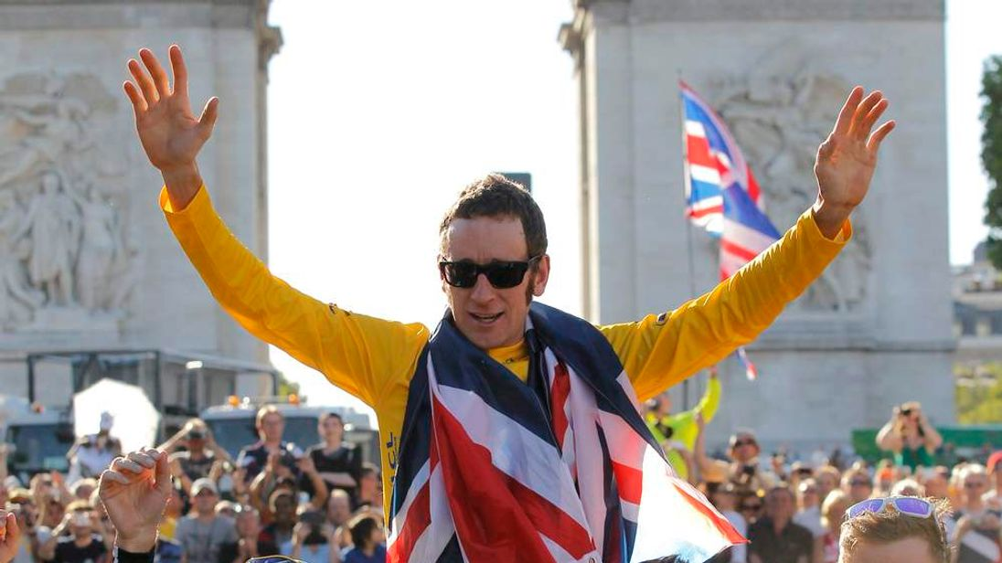 Bradley Wiggins celebrates winning Tour de France