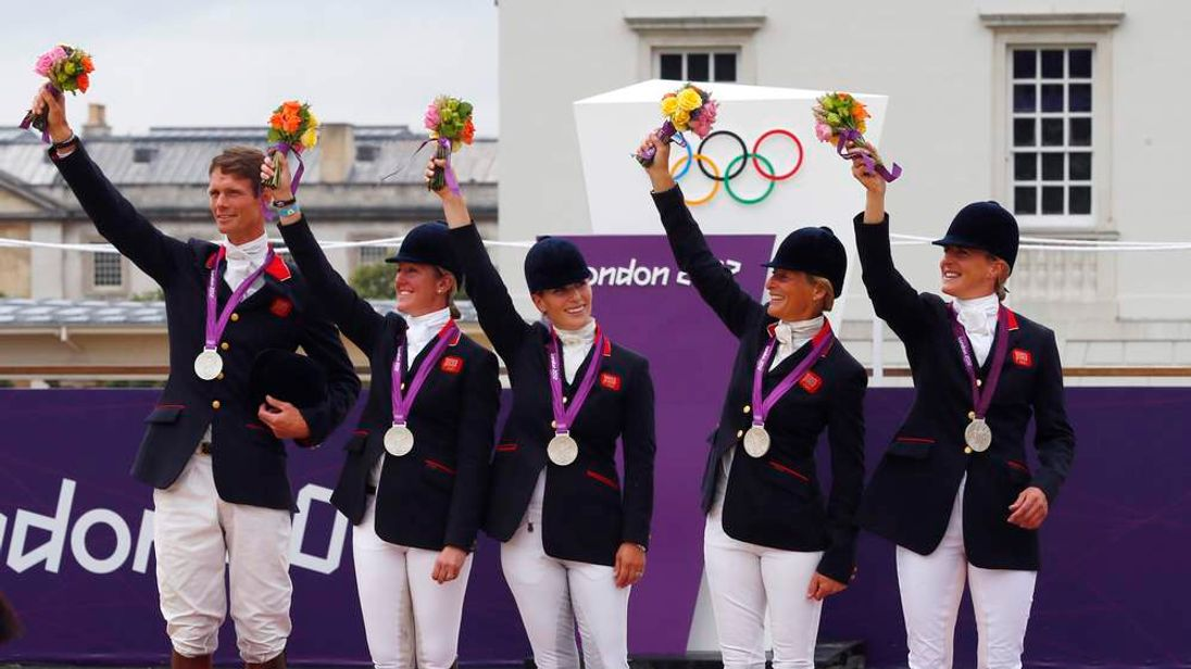 Team GB's showjumpers, including Zara Phillips, win Olympic silver