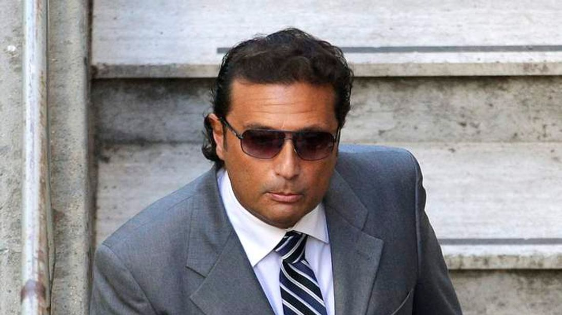 Schettino, captain of the Costa Concordia cruise ship, arrives for a pre-trial hearing for the Costa Concordia disaster, in Grosseto