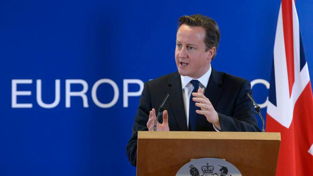 Britain's Prime Minister David Cameron holds a news conference during a European Union leaders summit, in Brussels