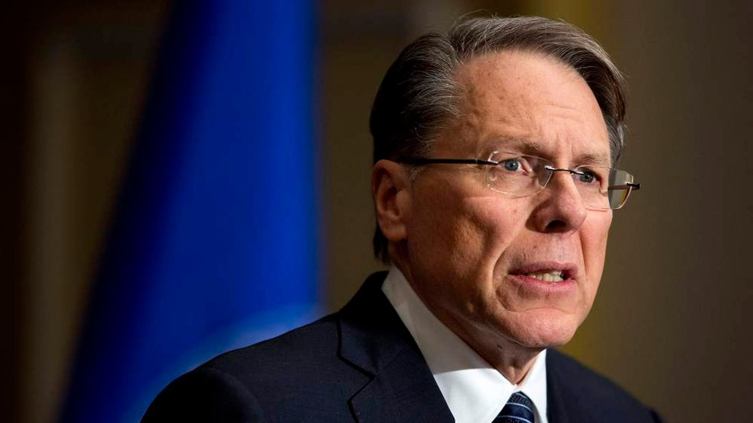 Wayne LaPierre, Executive Vice President of the NRA, speaks during a news conference in Washington