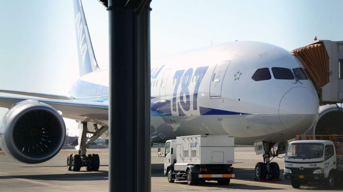 All Nippon Airways' (ANA) Boeing Co's 787 Dreamliner plane with a crack cockpit window is seen at Matuyama airport in Matsuyama, western Japan
