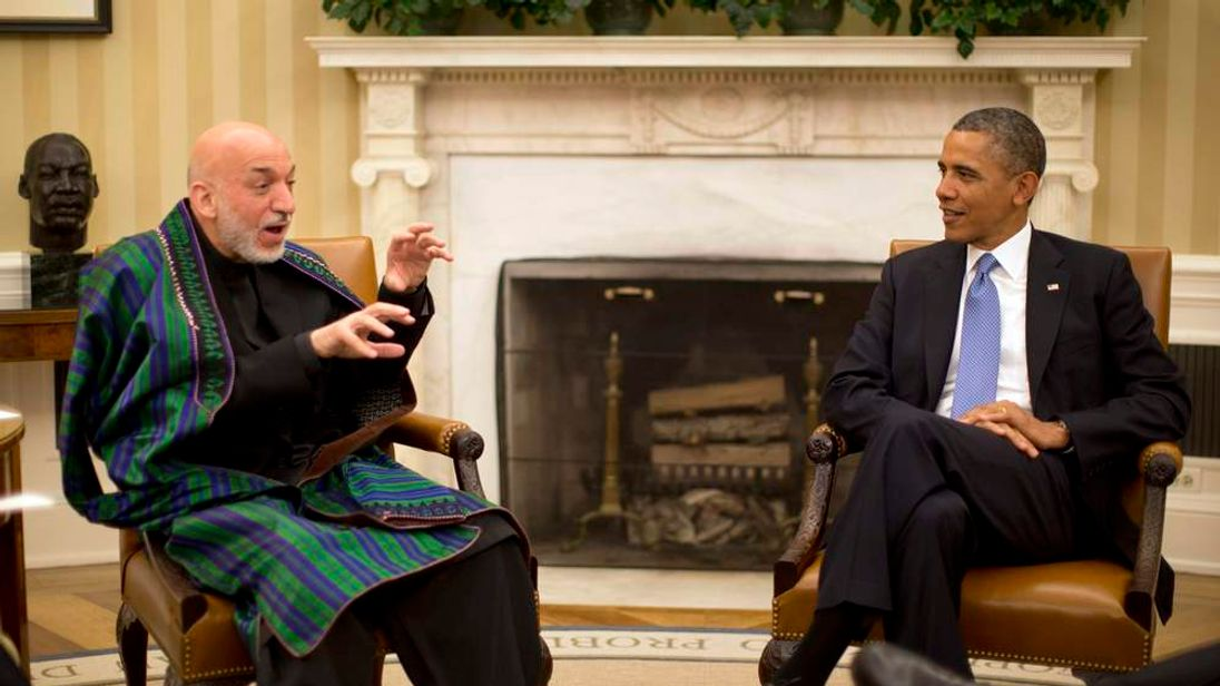 President Obama and President Karzai in the Oval Office