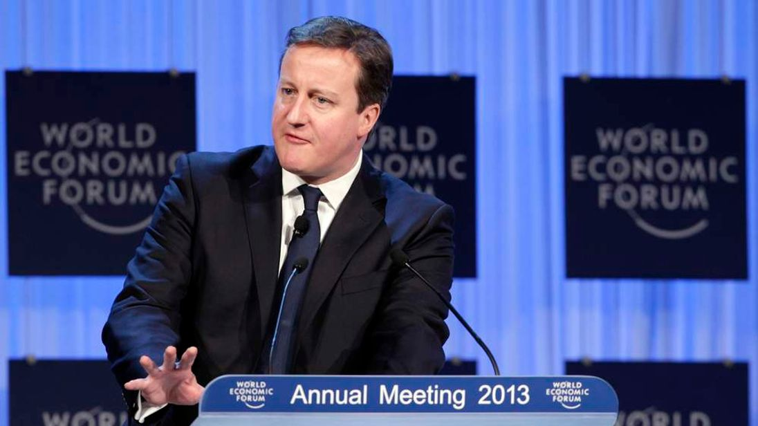 Britain's Prime Minister Cameron speaks during the annual meeting of the World Economic Forum in Davos