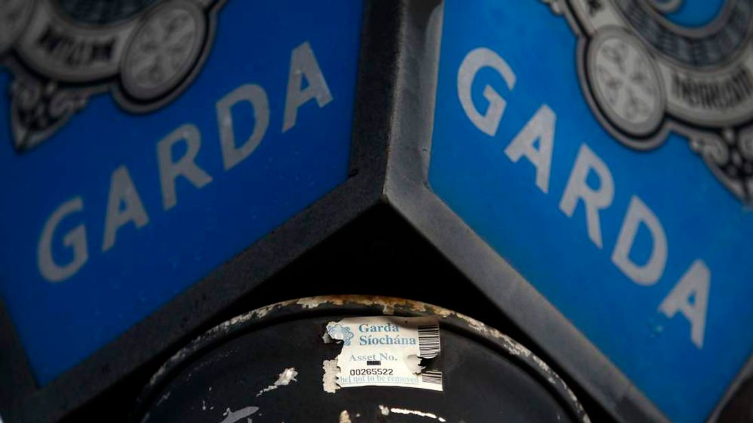 A sign is seen outside Churchill Gardai Station, one of ninety Irish police stations which were closed due to budget cuts, in Churchill, County Donegal