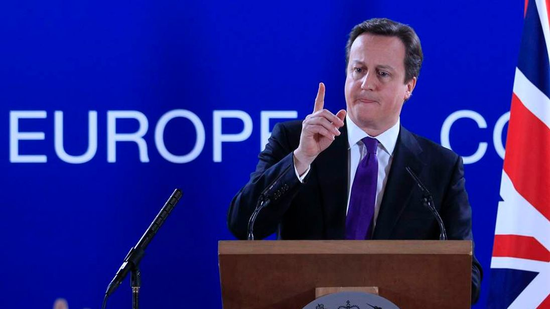 Britain's Prime Minister Cameron speaks during a news conference at the end of an European Union leaders summit meeting in Brussels