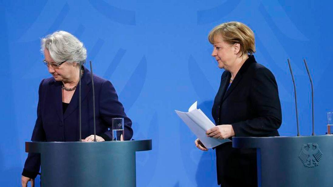 German Chancellor Merkel and Education Minister Schavan