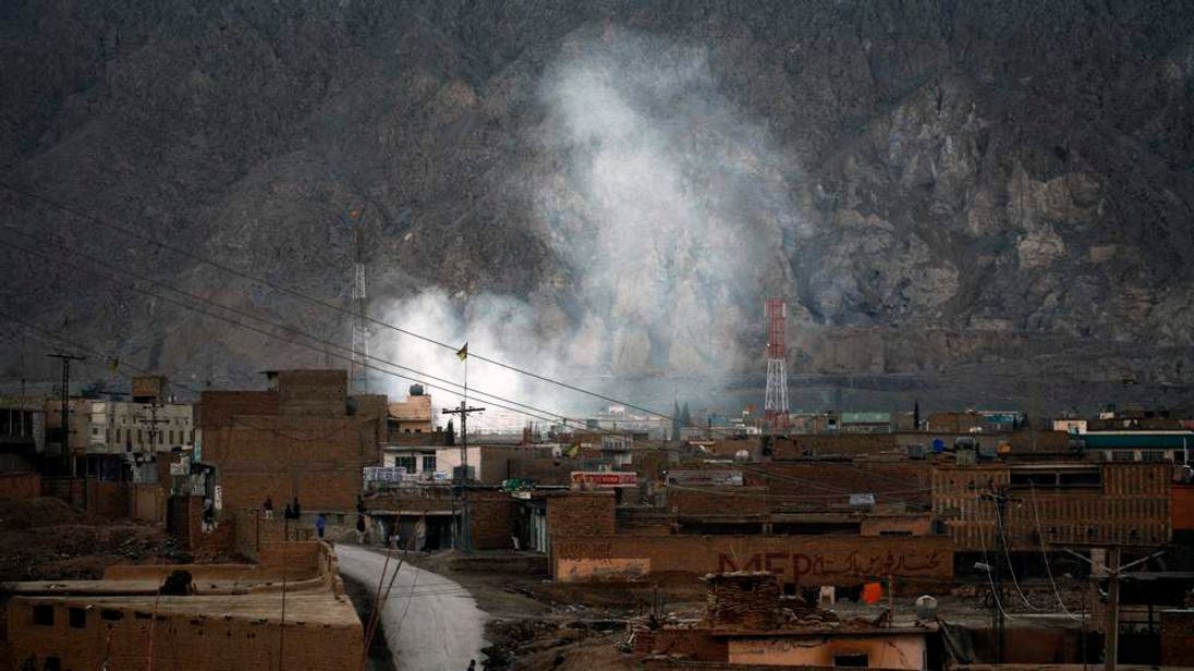 Smoke rises after a bomb attack in a Shi'ite Muslim area of the Pakistani city of Quetta