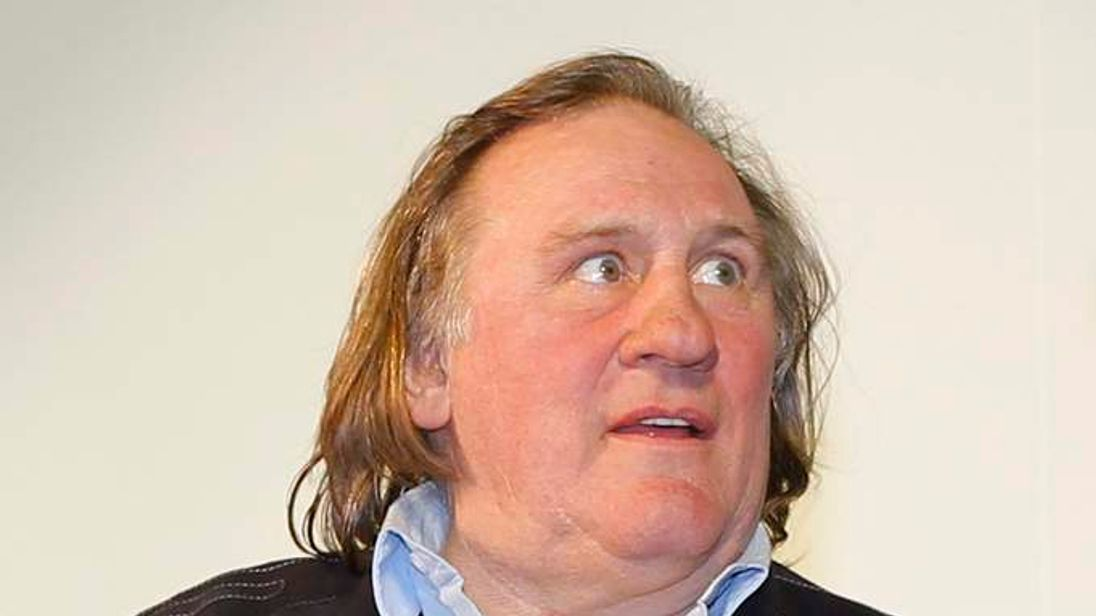 "Actor Gerard Depardieu takes part in a ceremony to open the restored ""Illusion"" cinema in Moscow"