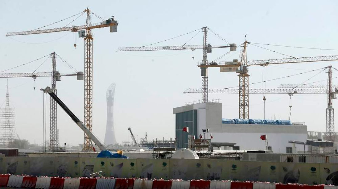Cranes are erected at the construction site of Qatar Foundation headquarters in Doha