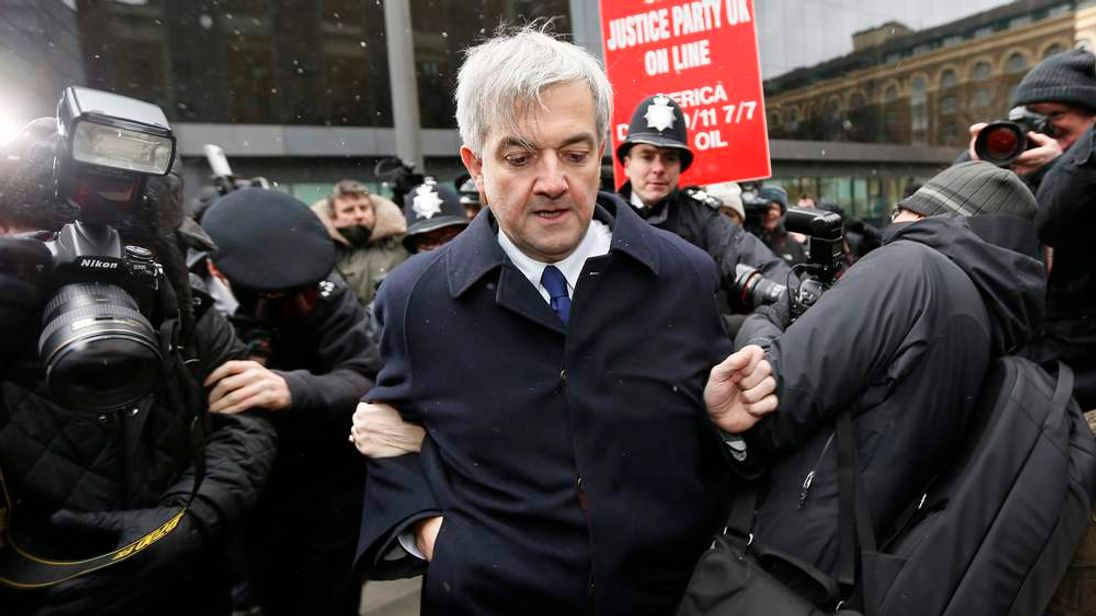 Chris Huhne arrives for his sentencing