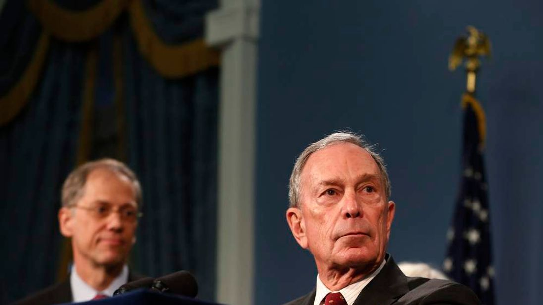 New York City Mayor Michael Bloomberg speaks to the media at New York's City Hall
