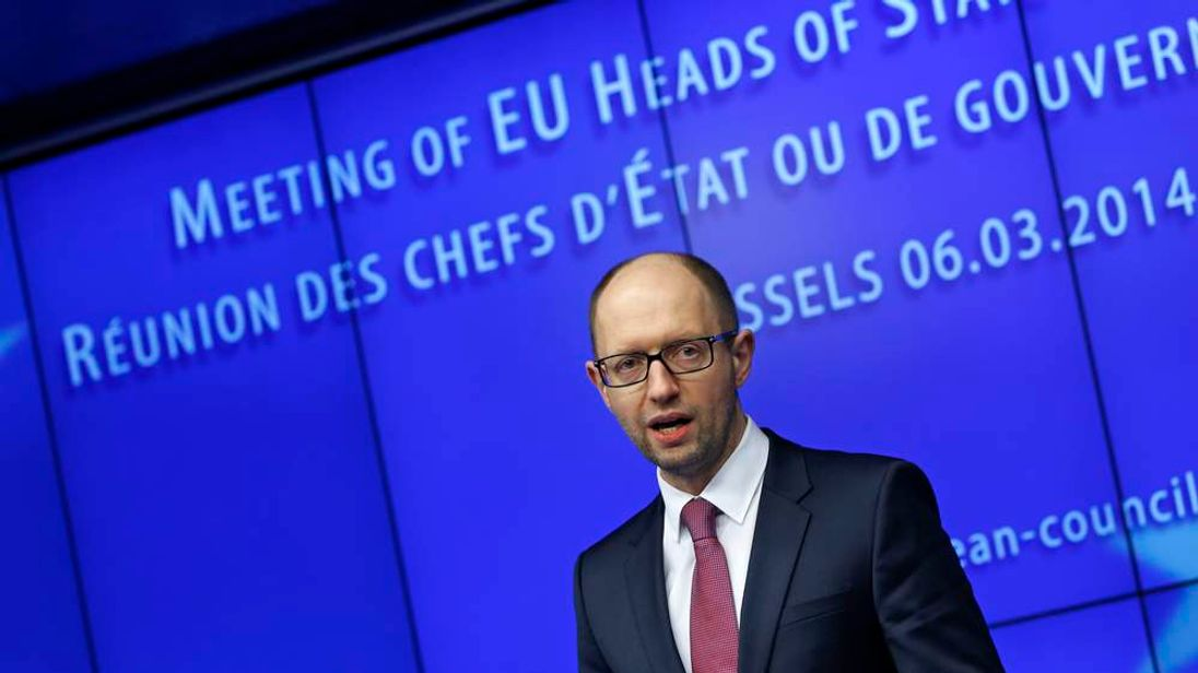 Ukraine's Prime Minister Yatseniuk holds a news conference during a European leaders emergency summit on Ukraine in Brussels