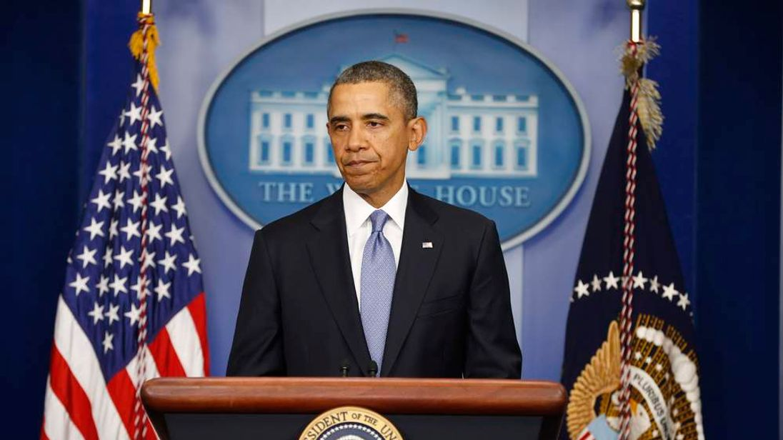 U.S. President Obama pauses while speaking about the crisis in Ukraine from the White House in Washington