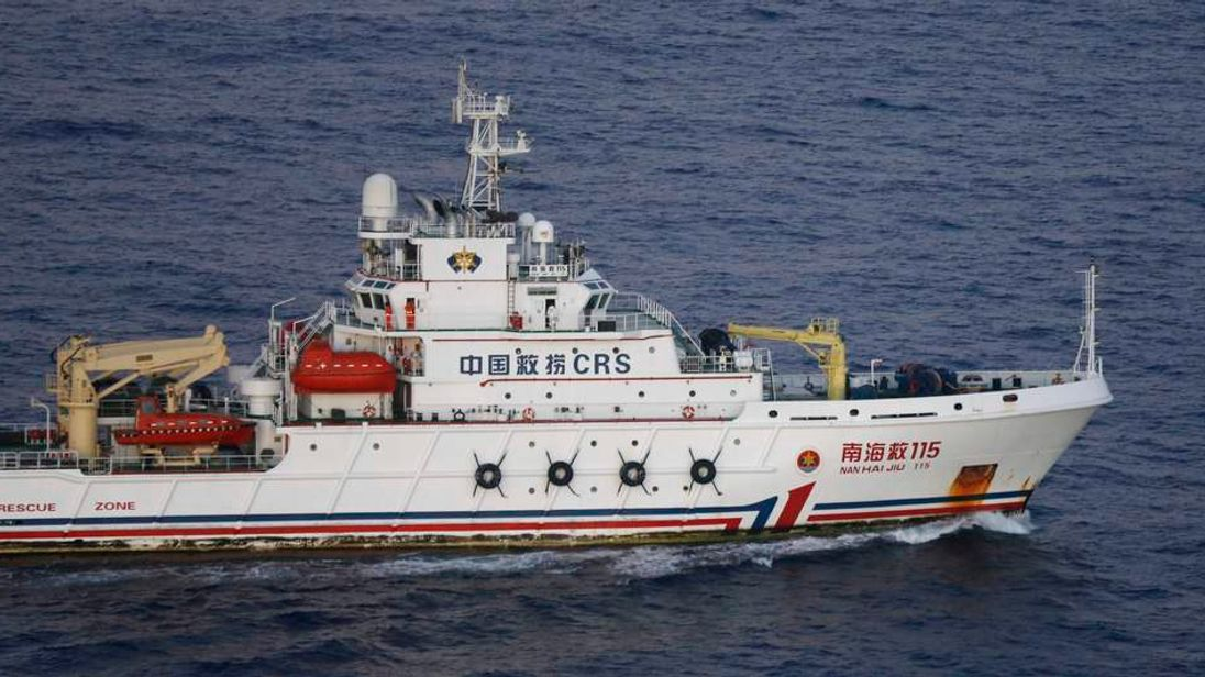 Chinese ship Nan Hai Jiu is pictured in the southern Indian Ocean, in this picture taken from the flight deck of a Royal New Zealand Air Force P-3K2 Orion aircraft searching for the missing Malaysian Airlines MH370