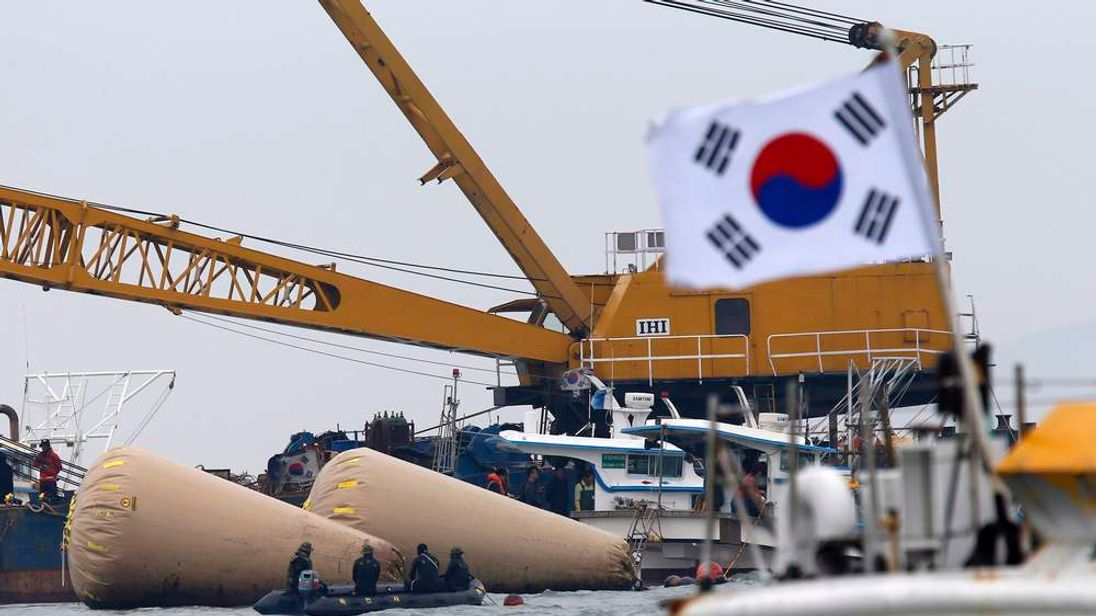 South Korean Rescue Workers At Site Of Ferry Disaster