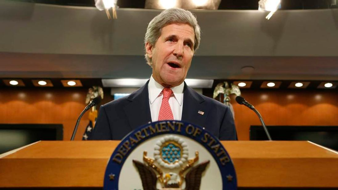 US Secretary of State John Kerry delivers a statement on Ukraine from the State Department press briefing room in Washington.
